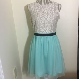 White Lace and Light Blue Tulle Dress Size 11